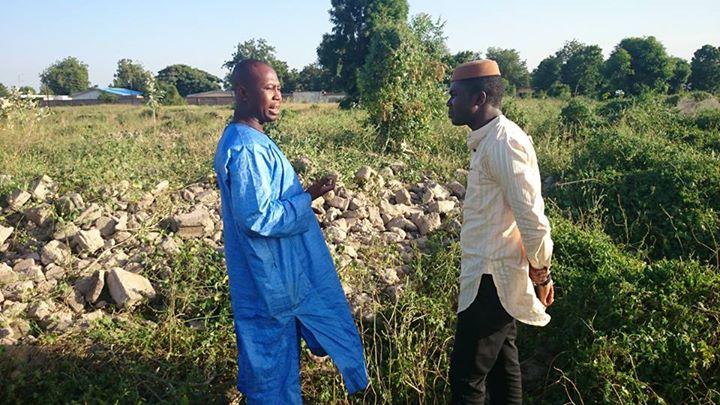 Global Youth Ambassador Philip Obaji at site of original Boko Haram camp in Nigeria