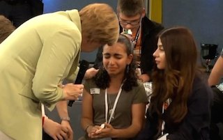 Angela Merkel got it wrong: crying refugee girl's wish is for an education