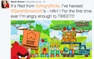 Red alert! Angry Bird hacks Twitter account to help children out of school