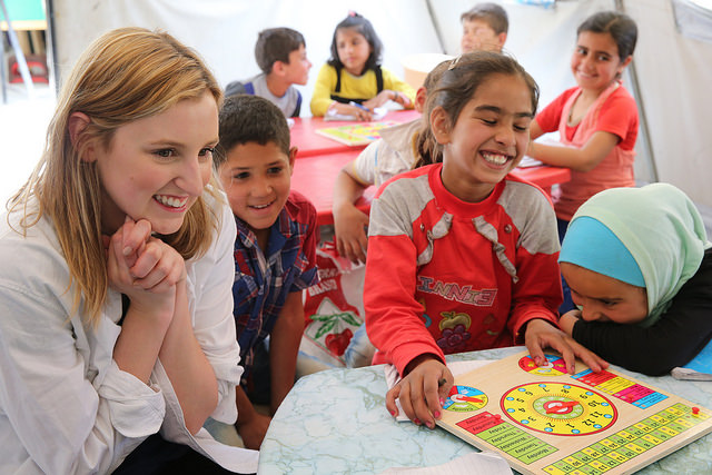Laura Carmichael visits tented learning space for Syrian children in Lebanon