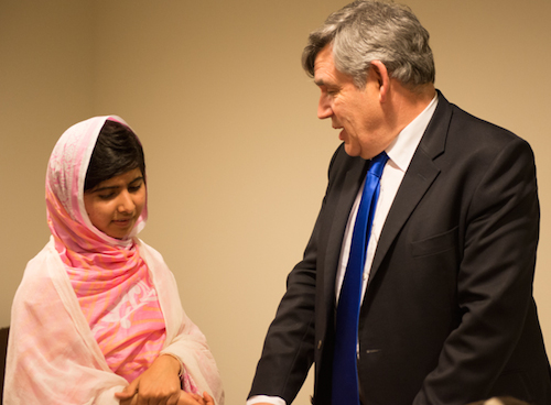 Malala with Gordon Brown