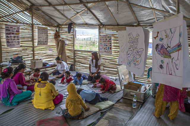 Nepal temporary classroom in Nepal picture Kashish Das Shrestha for USAID