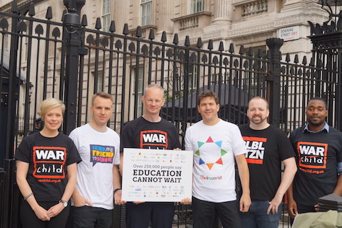 #SafeSchools petition is handed in to 10 Downing Street by Theirworld, War Child and Global Citizen