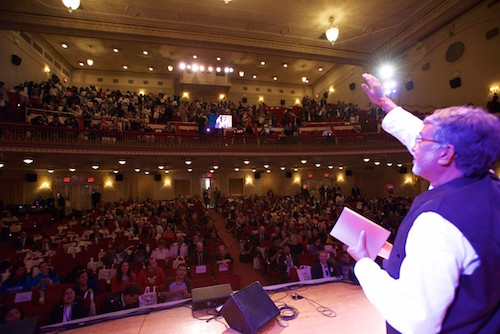 #UpForSchool Town Hall - Kailash Satyarthi waves to the audience picture Steve Gong for A World at School