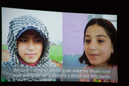 #UpForSchool Town Hall event shown film of Syrian refugees picture by steve Gong