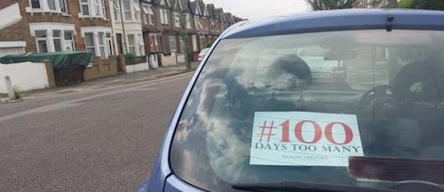100 days Chibokvigil sign on car
