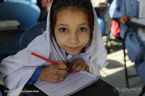 Afghan refugee Samina at refugee village in Kot Chandana village in Pakistan where Hansen Refugee Award winner Aqeela Asif founded schools picture by UNHCR:Duniya Aslam Khan