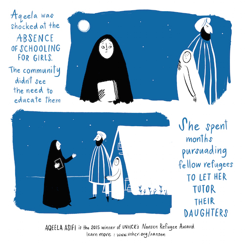 Aqeela Asifi Nansen Refugee Award graphic