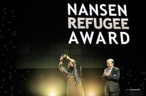 Aqeela Asifi receices Nansen Refugee Award
