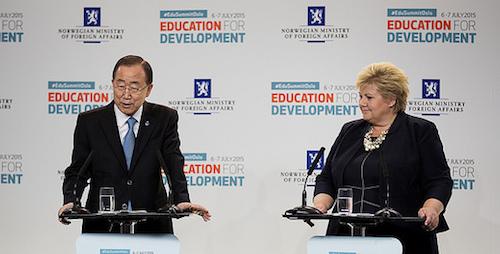 Ban Ki-moon and Norway Prime Minister Erna Solberg at Oslo Education Summit
