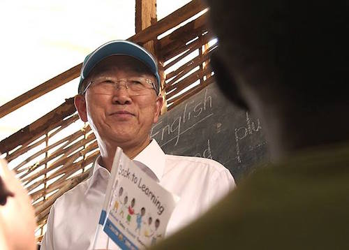 Ban Ki-moon on a visit to a school in South Sudan  picture OCHA