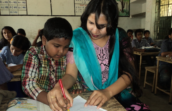 Kazi Mahamuda Parvin, an assistant teacher at Shakamachha Bazar Government Primary School in Bangladesh.