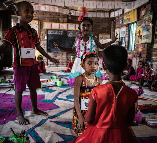 Musamat Murshida Sultana, aged six, at a UNICEF-funded pre-primary school in Satkhira Sadar, Bangladesh Picture: UNICEF/Gilbertson VII