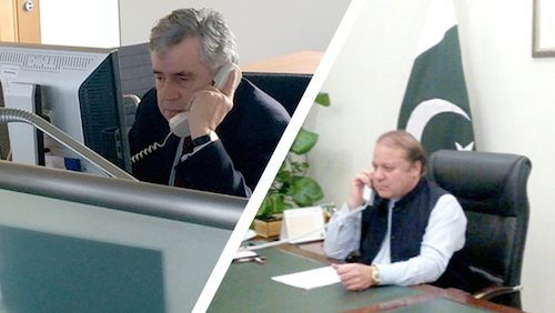 Gordon Brown and Prime Minister Sharif discuss the Pakistan Safe schools Initiative