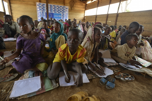 Children in a learning and protection space at the Borgop site for refugees from the Central African Republic in the eastern Adamawa Region Picture UNICEF/Rich