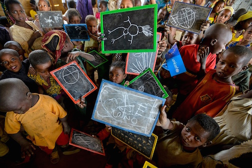 Children at a pre-primary class in Cameroon for refugees from the Central African Republic Picture: UNICEF/Rich