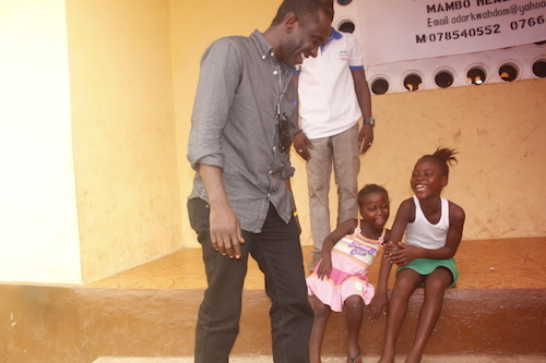 Chernor Bah talks to Sierra Leone girl who lost both parents to Ebola