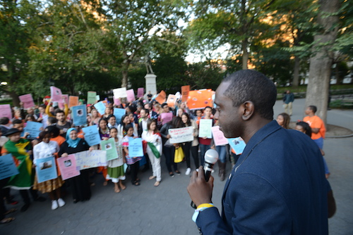 Chernor Bah at #UpForSchool rally in New York
