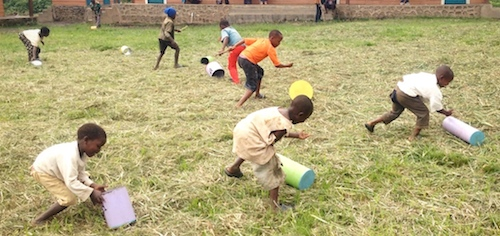 DRC school children with PlayGarden cylinders