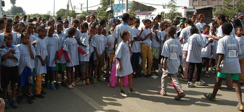 Day of the African Child children's run in Addis Ababa, Ethiopia