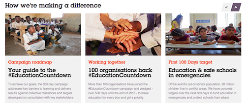 #EducationCountdown campaign page