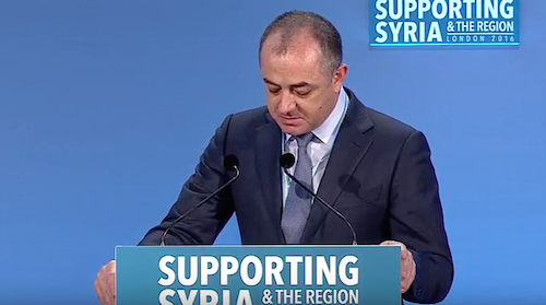 Elias Bou Saab in tears at the Syria conference