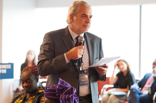 GBC-Ed breakfast Christos Stylianides speaks picture by Steve Gong
