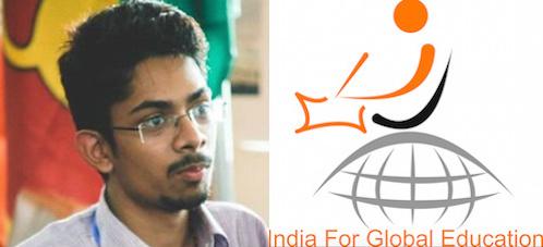 GYA from India Omang Agarwal and India for Global Education logo