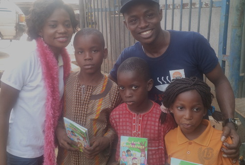 GYAs from Nigeria Omoyele Isaac Success and Atinuke Lebile with children in Ibadan Oyo state