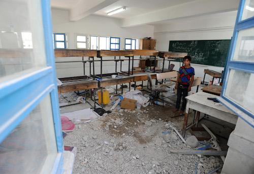 Gaza school at Jabaliya where 16 people were killed in July 2014