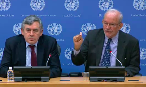 Gordon Brown and Anthony Lake at UN picture from UN video stream
