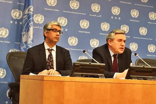 Gordon Brown at UN announcement on safe schools