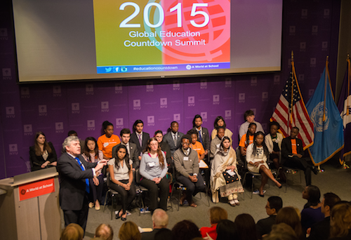 Gordon Brown with Global Youth Ambassadors at Education Countdown Summit