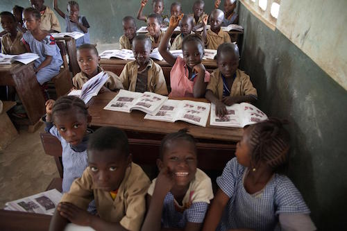Guinea students at Mangalla school in Gueckedou in 2015 after classes reopened following Ebola outbreak picture by UNICEF:de Mun