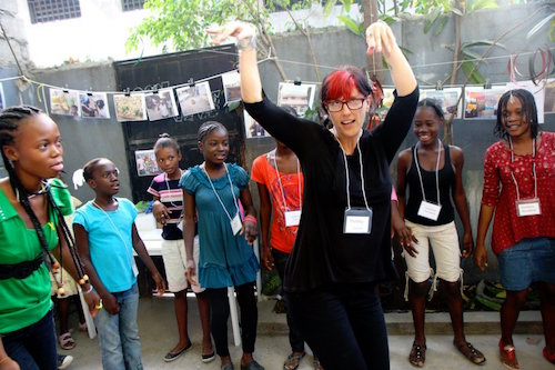 Haitian girls at a workshop with Lide founder Holiday Reinhorn Picture: J/P HRO
