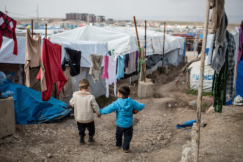 Iraqi displaced children at Domiz camp in 2014 picture UNICEF/Schermbrucker