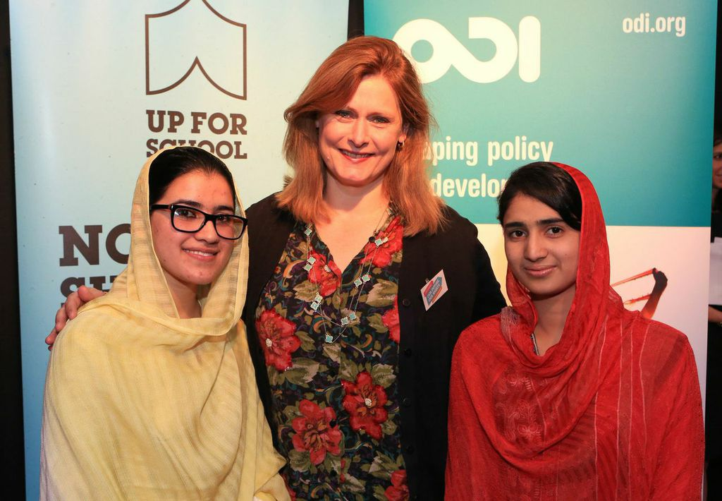 Kainat and Shazia with Sarah Brown #UpForSchooly rally