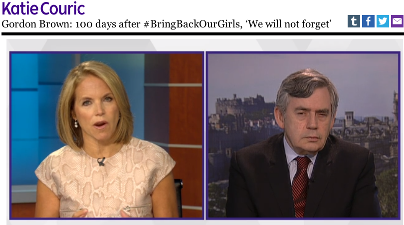 Katie Couric and Gordon Brown Bring Back Our Girls