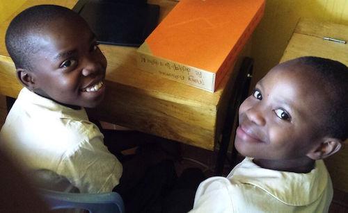 Kenyan children at launch of Code Clubs at Kibera in Kenya