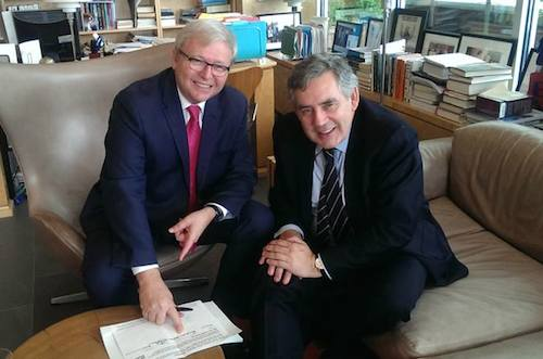 Kevin Rudd signs #UpForSchool Petition watched by Gordon Brown