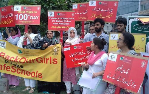 100 days vigil for Chibok girls Lahore Pakistan