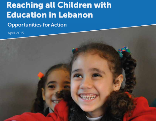 Cover of report on education for Syrian children in Lebanon