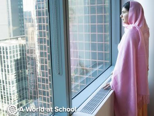 Malala at A World at School office