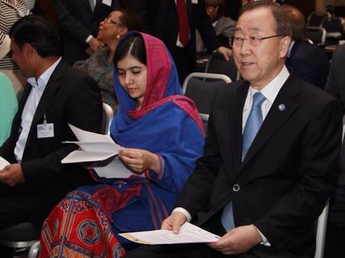Malala Yousafzai and Ban Ki-moon at Oslo summit