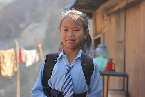 Nepalese schoolgirl picture by A World at School/Claire Wilkinson