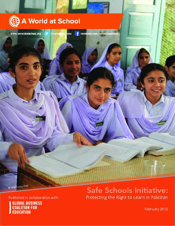 Pakistan Safe Schools Initiative report cover