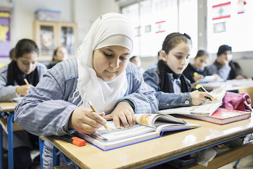 Refugee Fatima aged 12 is in moxed Syrian and Lebanese class in Beirut picture Addam Patterson Panos DFID