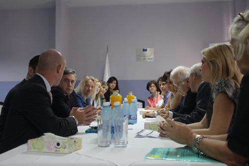 UN education envoy Gordon Brown at talks with Lebanese education officials