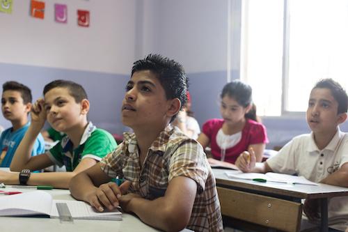 Syrian refugee boys at a school in Turkey