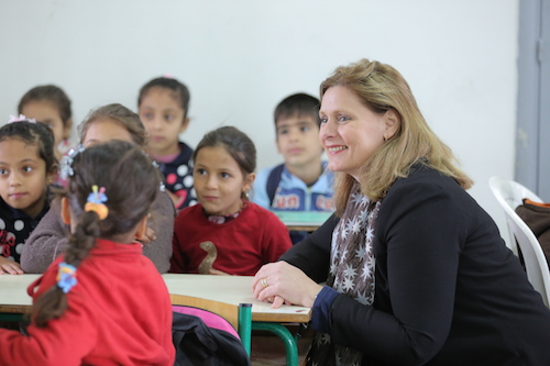 Sarah Brown visits Syrian refugee students at Mtein school at Mount Lebanon Picture Anthony Achkar